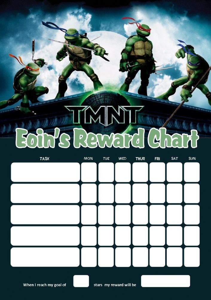 Personalised Teenage Mutant Ninja Turtles Reward Chart